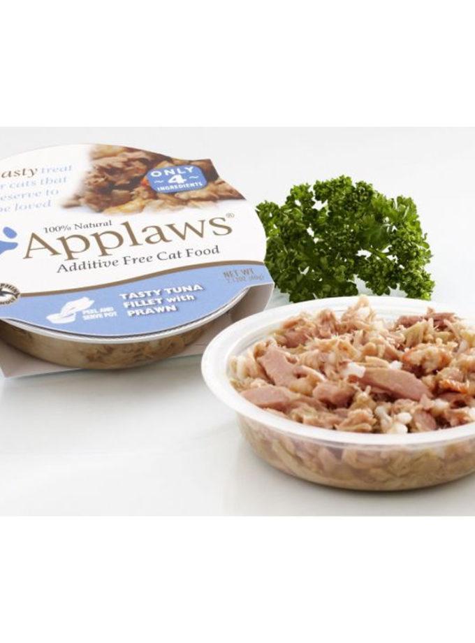 Applaws 全天然膠碗貓濕糧 - 吞拿魚、蝦 (60g)