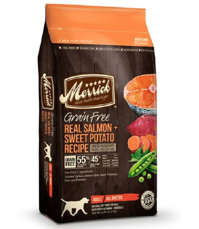 Merrick Grain FreeReal Salmon & Sweet Potato Recipe 4LB