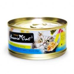 Fussie Cat Premium 高竇貓純天然貓罐頭 (吞拿魚+白魚) 80G