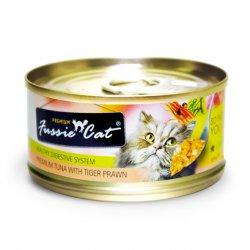 Fussie Cat Premium 高竇貓純天然貓罐頭 (吞拿魚+虎蝦) 80G