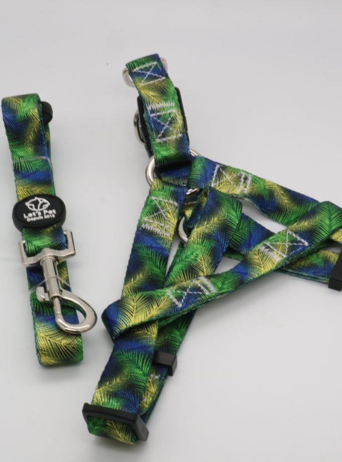 牽引繩+伸縮胸背帶(迷彩綠) L